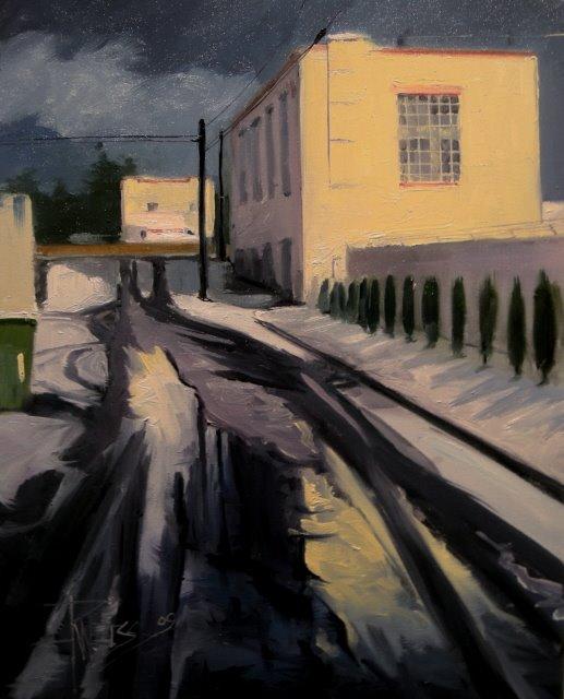 """Alley Slush  Bremerton"" original fine art by Robin Weiss"