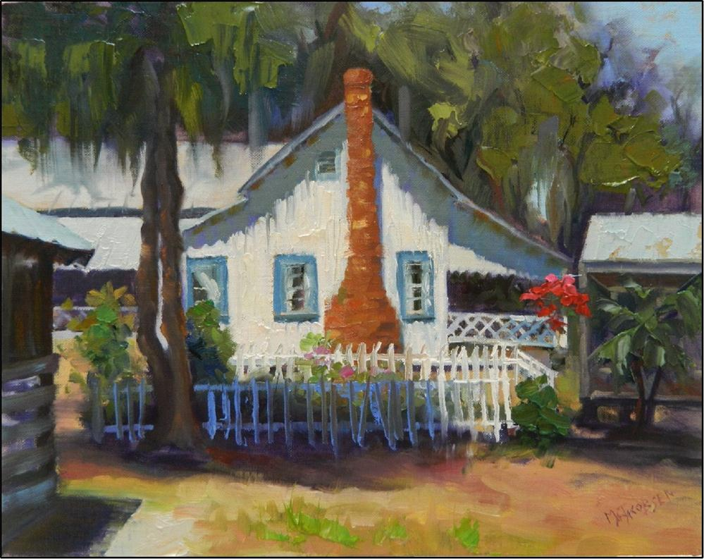 """""""A Glimpse of the Past, plein air, 14x11, oil on linen, old buildings, Old Florida art, paint-outs,"""" original fine art by Maryanne Jacobsen"""