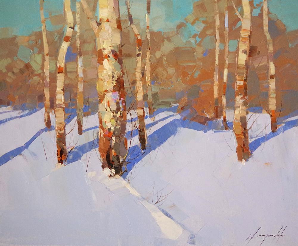 """Winter Time, Original oil painting, handmade art, impressionism"" original fine art by V Y"