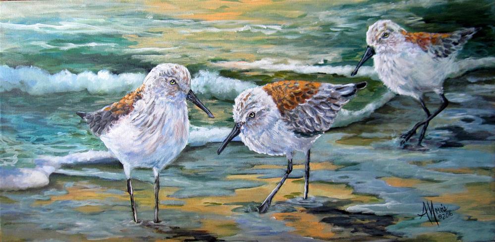 """Sandpipers and Pebbles"" original fine art by Andrea Morris"