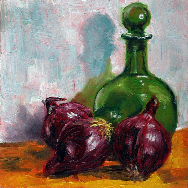 """""""Green bottle with onions"""" original fine art by Peter J Sandford"""