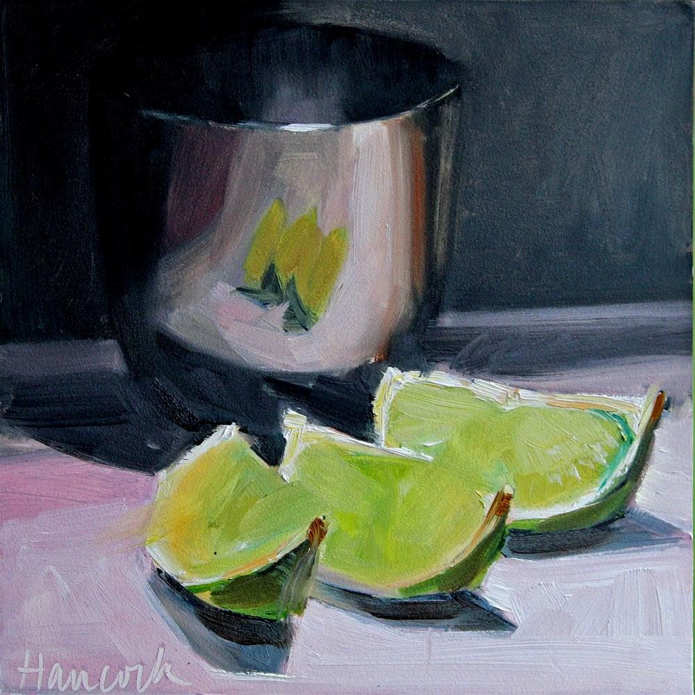 """Silver Pot Three Slices of Lime"" original fine art by Gretchen Hancock"