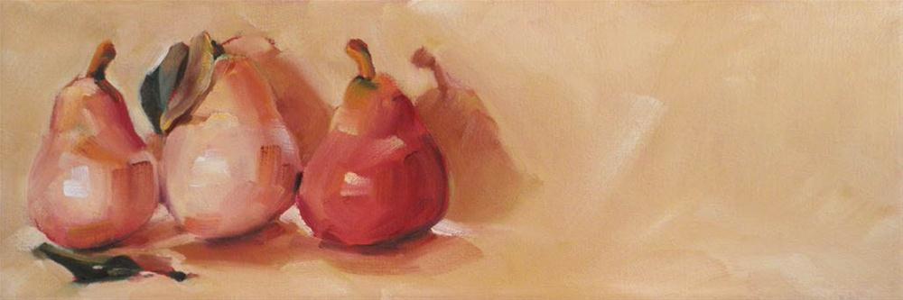 """""""Pink Pears with Leaves"""" original fine art by Cheryl Wilson"""