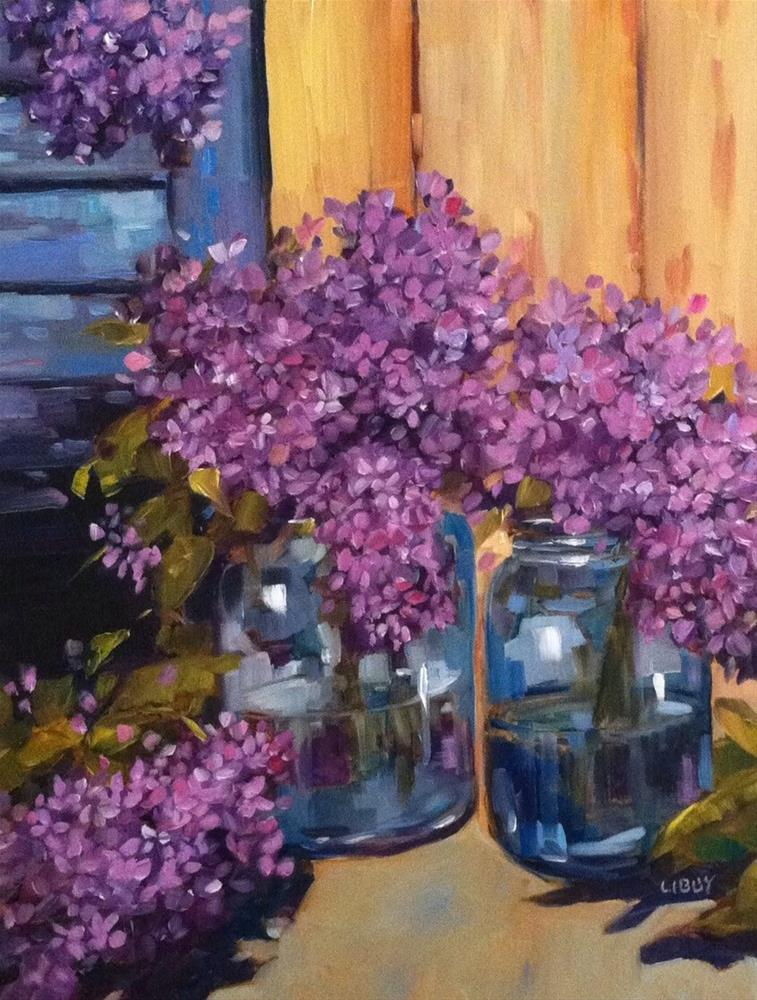 """Lilacs and Blue Shutter"" original fine art by Libby Anderson"