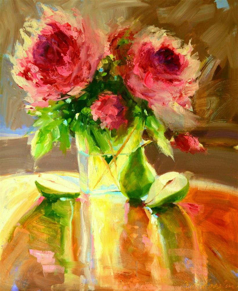 """""""PEARS AND PEONIES"""" original fine art by Cecilia Rosslee"""