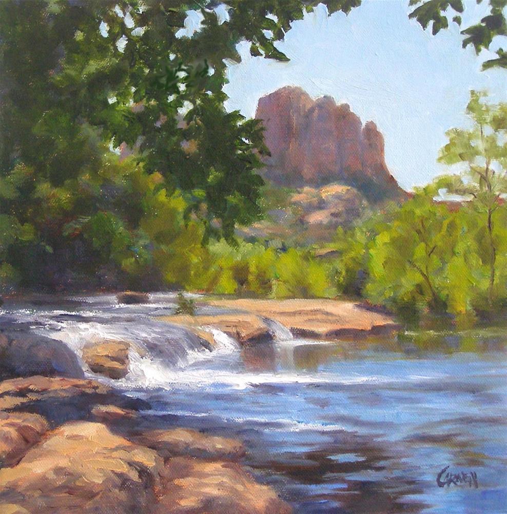 """""""Red Rock Crossing, 10x10 Oil on Canvas"""" original fine art by Carmen Beecher"""
