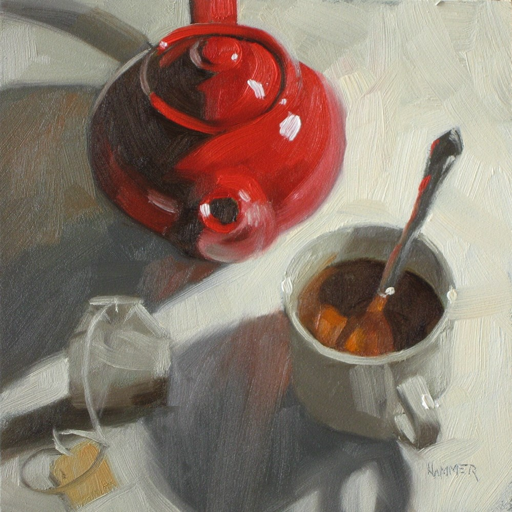 """Red tea bag  6x6  oil"" original fine art by Claudia Hammer"