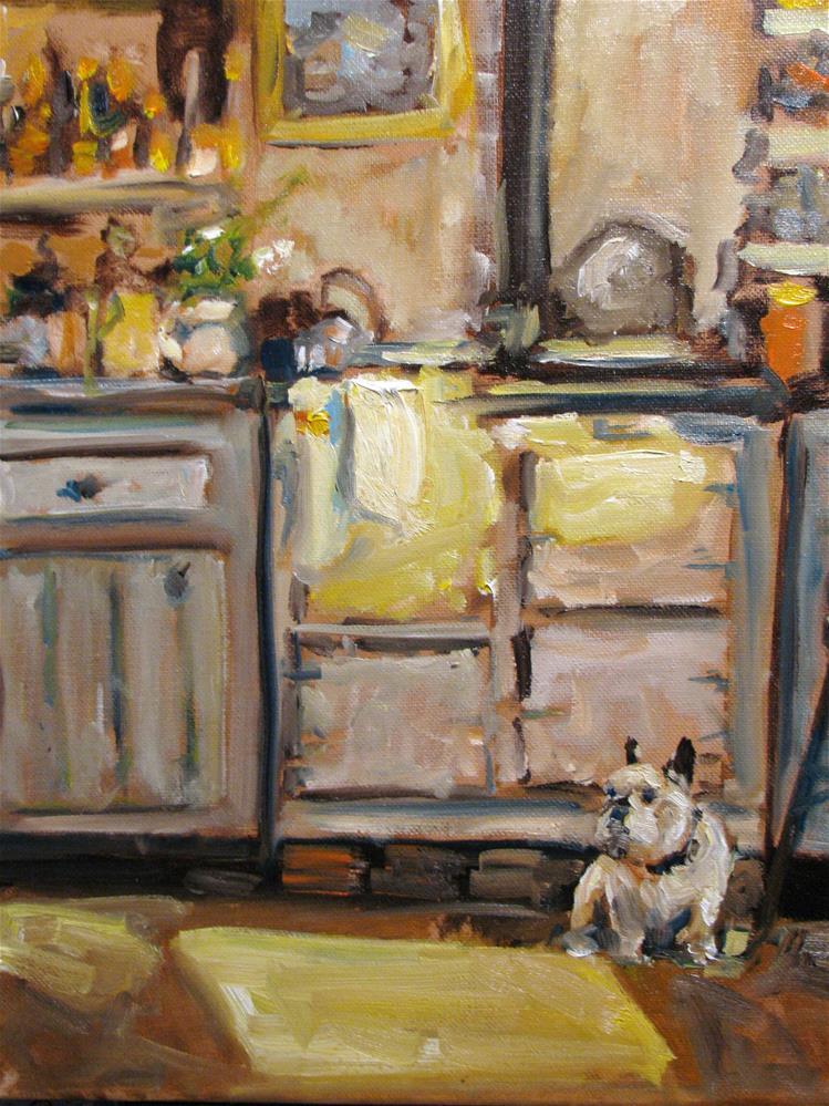 """""""Puppy in my Kitchen"""" original fine art by Susan Elizabeth Jones"""