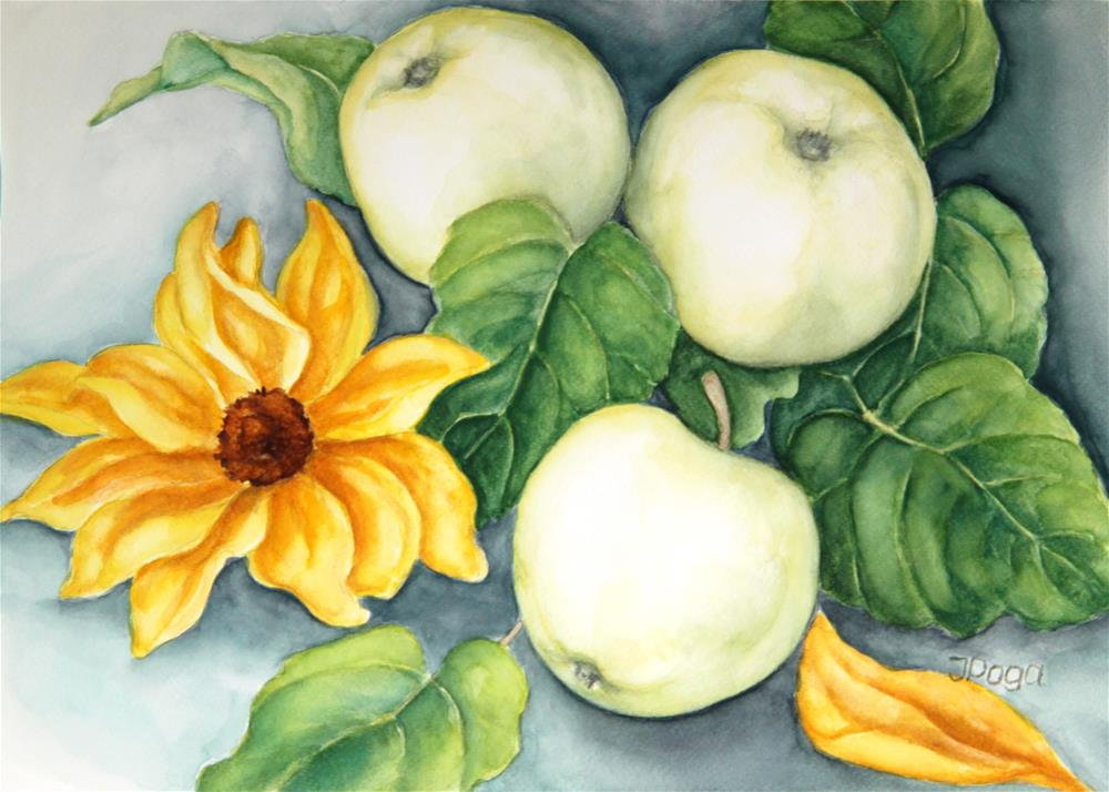 """Clear white apples"" original fine art by Inese Poga"