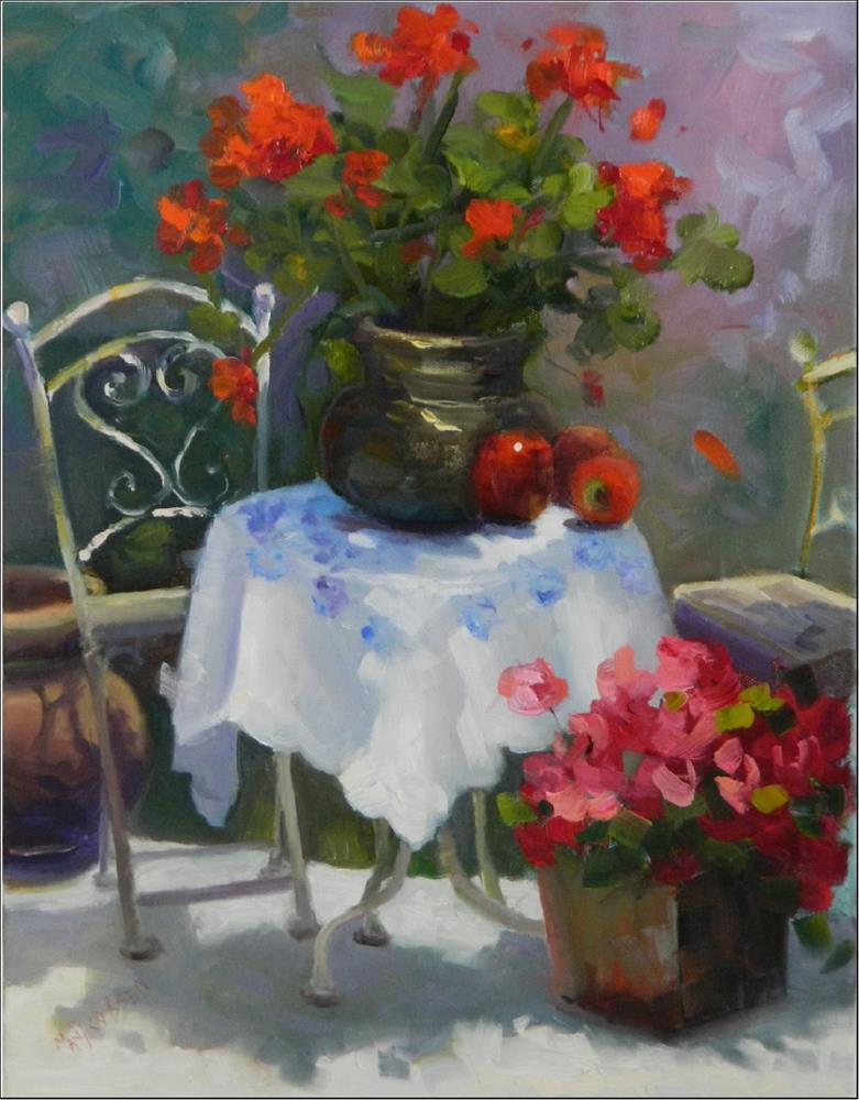 """Au Printemps, 14x18, oil on canvas, springtime floral, oil , impressionism, red geraniums art, red"" original fine art by Maryanne Jacobsen"