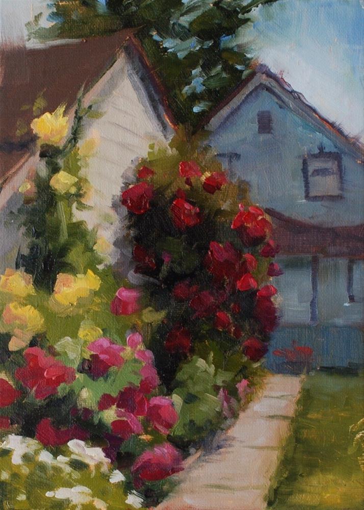 """No. 460 Return to the Antique Rose Garden"" original fine art by Susan McManamen"