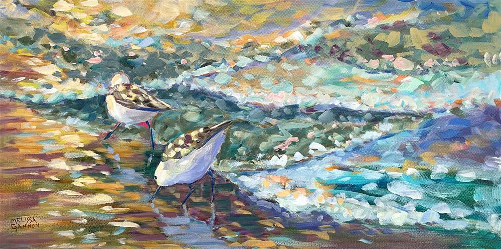 """Beach Bird Stroll"" original fine art by Melissa Gannon"