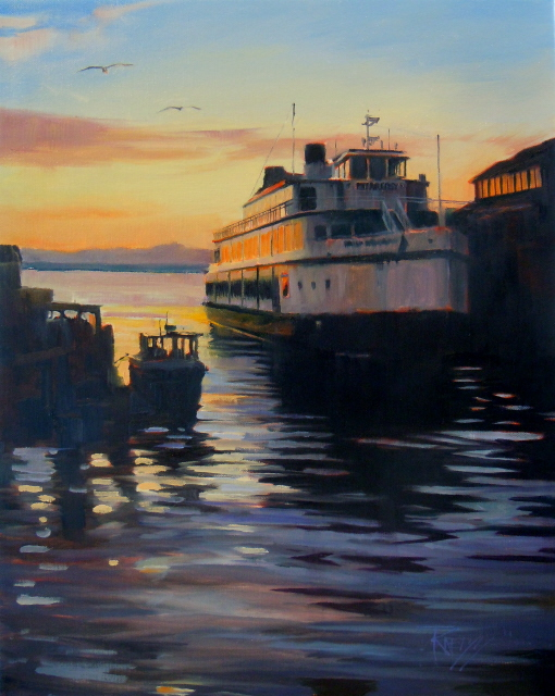 """""""The Argosy  Seattle waterfront, oil painting"""" original fine art by Robin Weiss"""