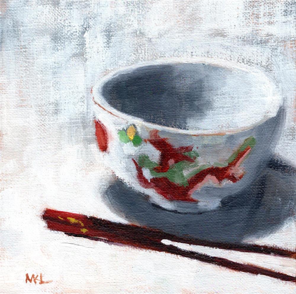 """China Bowl with Chopsticks"" original fine art by Marlene Lee"