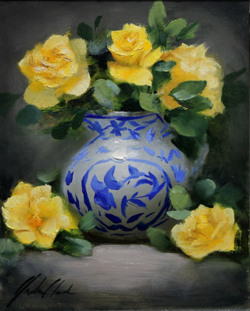"""""""Yellow Roses with Blue"""" original fine art by Justin Clements"""