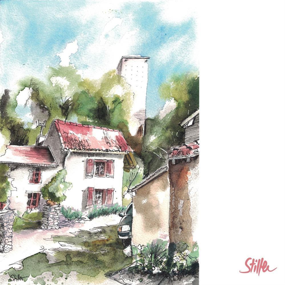 """3289 A small house in a small village"" original fine art by Dietmar Stiller"