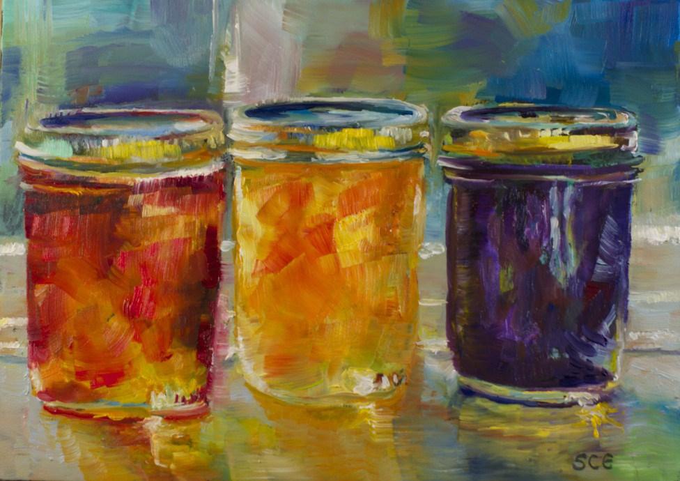 """Reflections: Jam Jars #3"" original fine art by Sue Churchgrant"