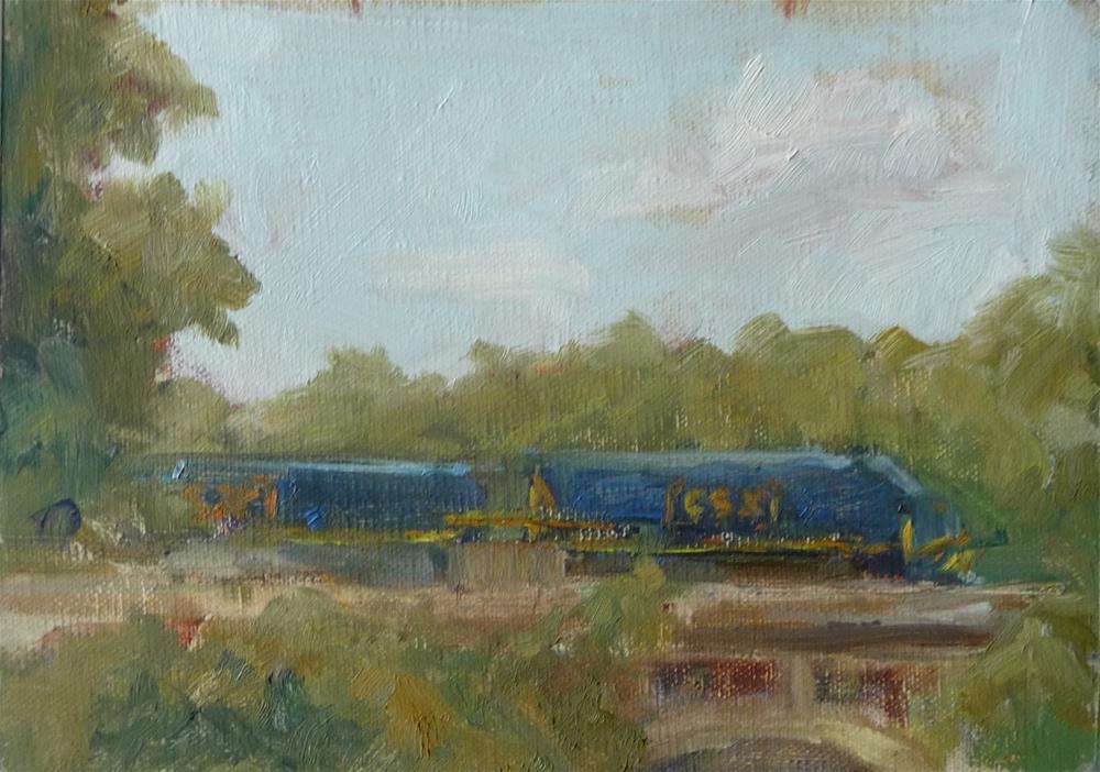 """""""Train Bridge"""" original fine art by Carol Josefiak"""