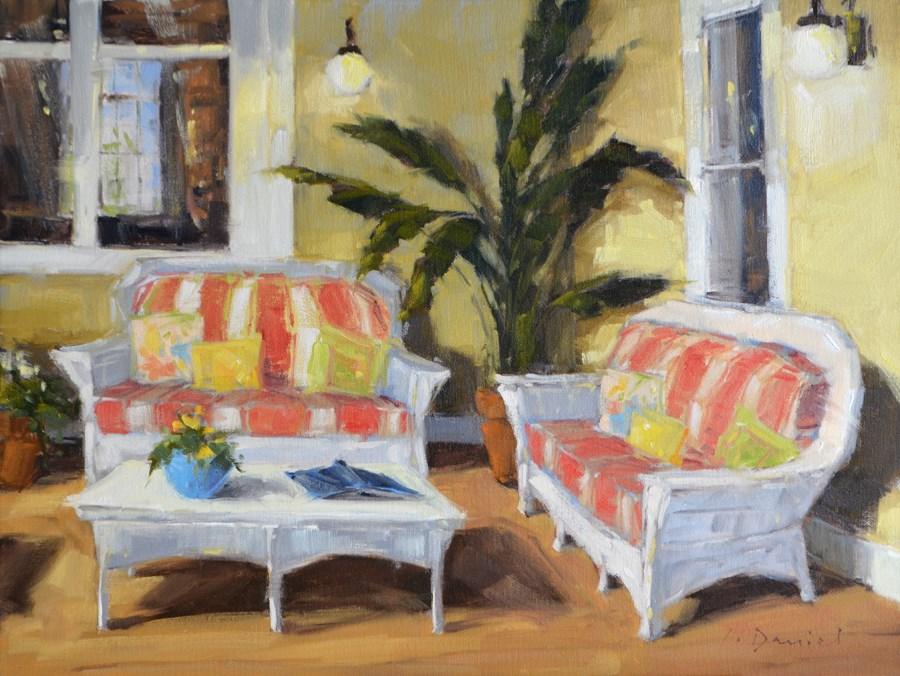 """""""Reading Porch - Show Tip #5"""" original fine art by Laurel Daniel"""