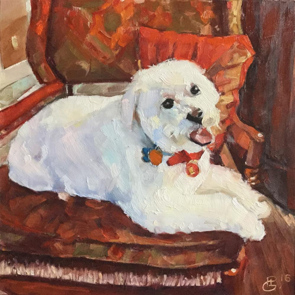 """Christmas Pup"" original fine art by Paula Howson-Green"