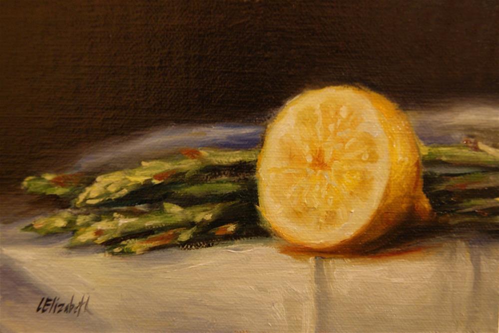 """Asparagus with Lemon,  Oil on 4x6 Linen Panel"" original fine art by Carolina Elizabeth"
