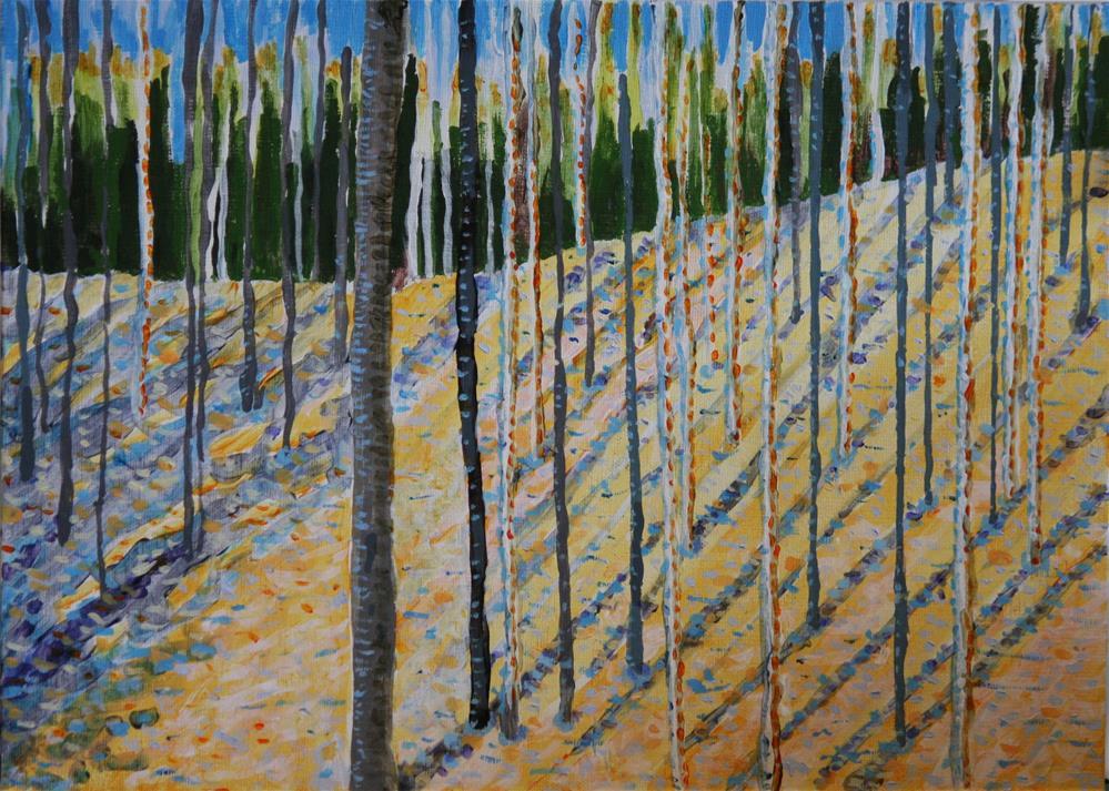 """""""Aspen Grove in Winter"""" original fine art by Terri-Anne Barge"""