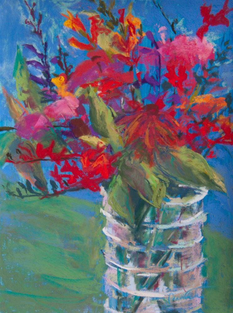 """""""Bouquet in a Ribbed Vase"""" original fine art by Sarah Peroutka"""