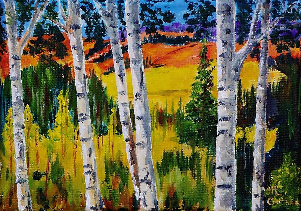 """Mountain Aspen"" original fine art by Mike Caitham"