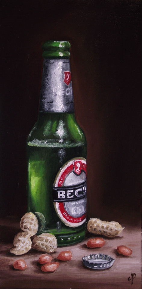 """""""Beer and Peanuts"""" original fine art by Jane Palmer"""