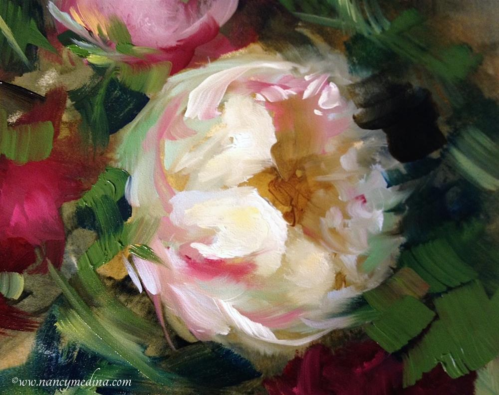 """Peony Collage and Painting Brilliant Italy Begins"" original fine art by Nancy Medina"