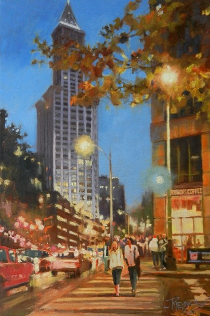 """""""Smith Tower Magic Seattle city oil painting by Robin Weiss"""" original fine art by Robin Weiss"""