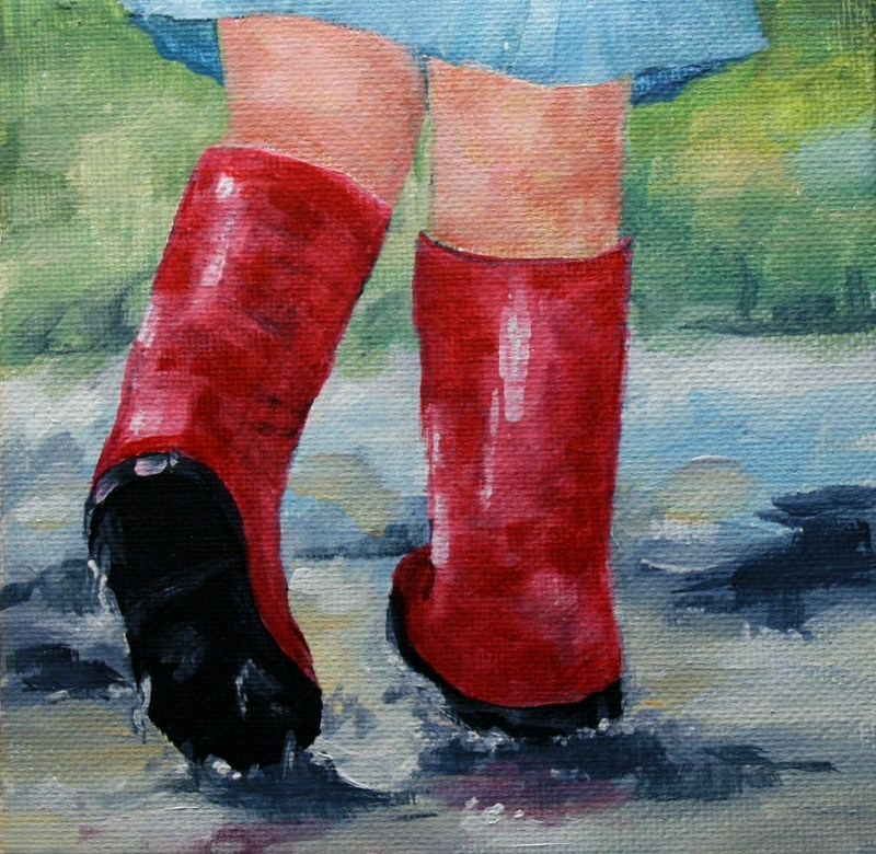 """""""Red Boots and Rainy Day Puddles"""" original fine art by Jean Nelson"""