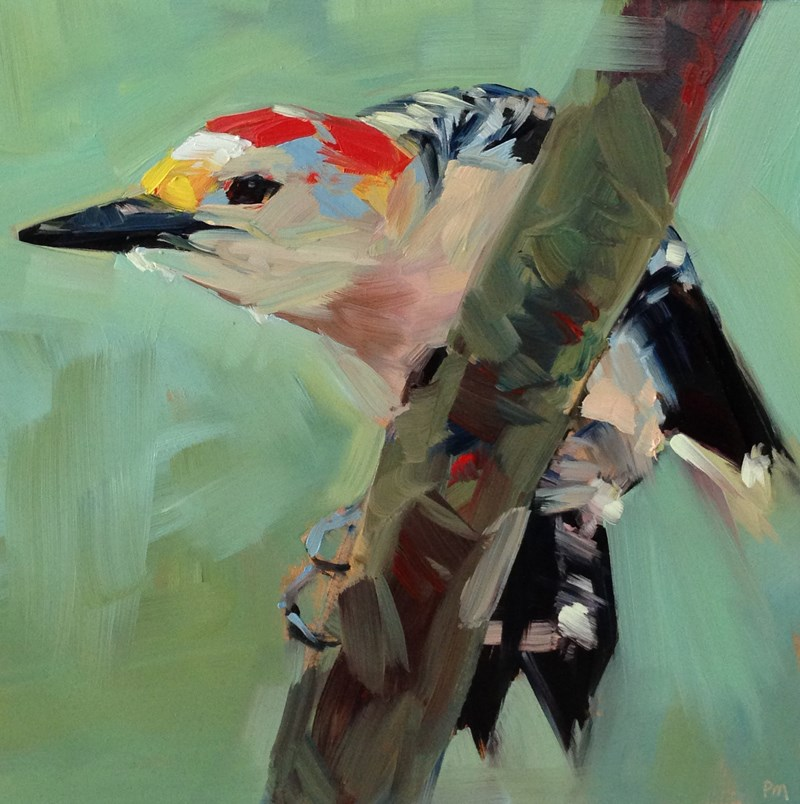 """""""Woodpecker Yoga Pose"""" original fine art by Patti McNutt"""