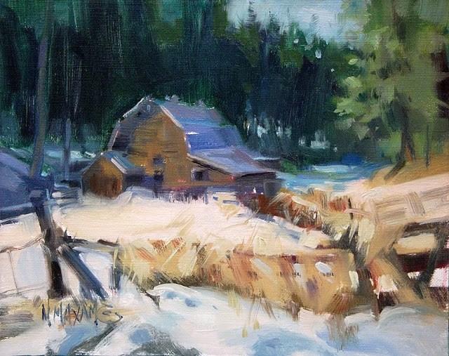 """""""Cougar Gulch, Barn In Winter"""" original fine art by Mary Maxam"""