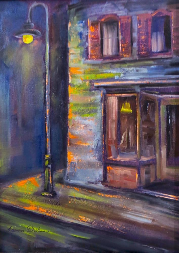 """Night on Main Street"" original fine art by Tammie Dickerson"