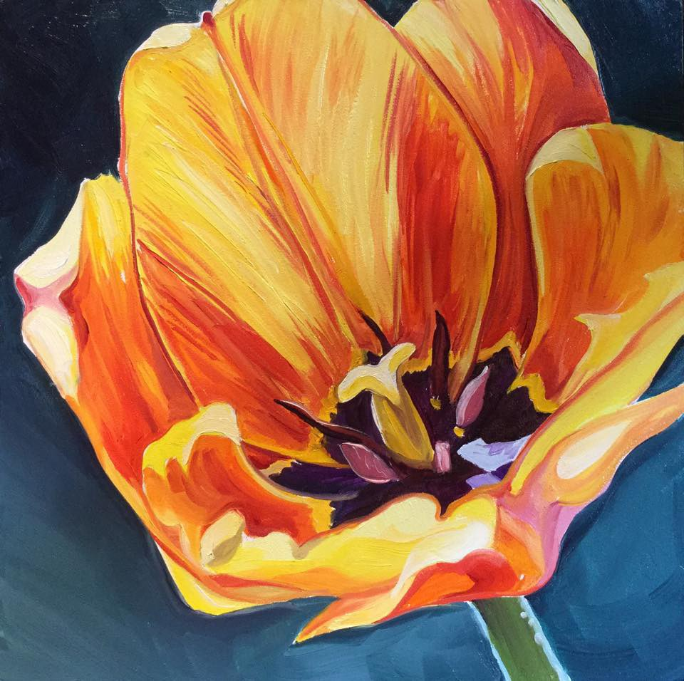 """""""Tangerine Blossom"""" original fine art by Lauren Kuhn"""