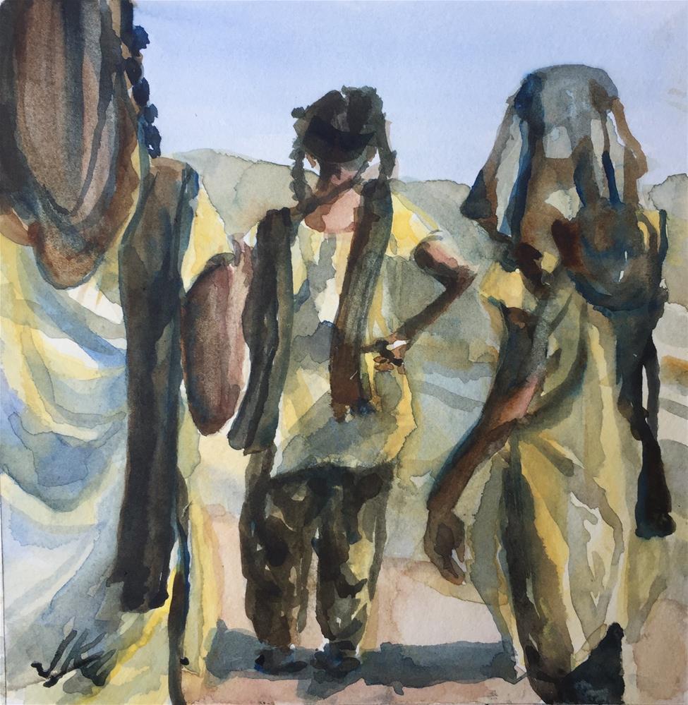 """""""Schoolgirls of India"""" original fine art by Jean Krueger"""