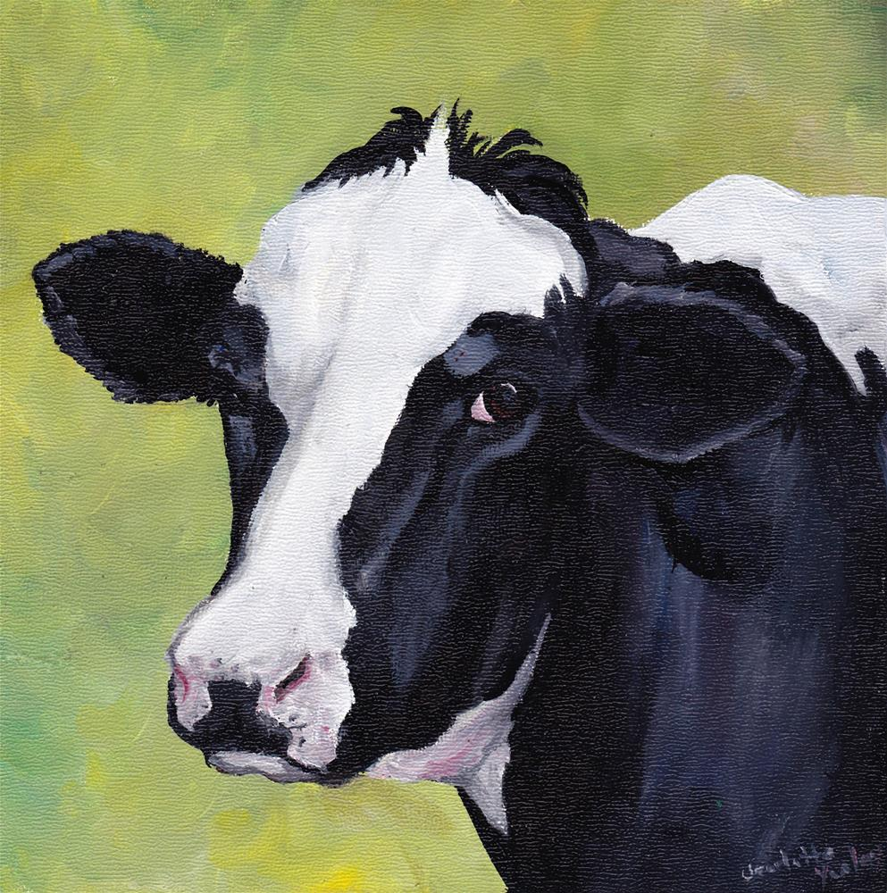"""""""Cow Original Oil Painting"""" original fine art by Charlotte Yealey"""