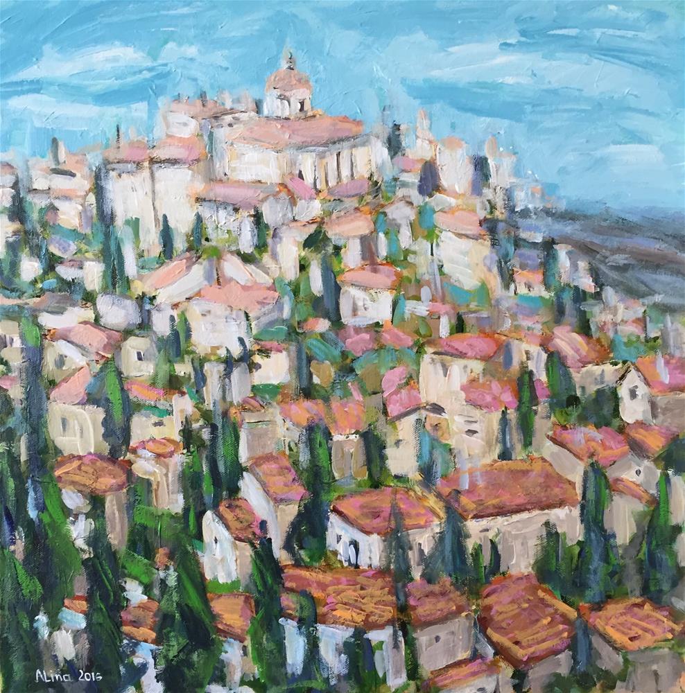 """""""Village in Provence"""" original fine art by Alina Vidulescu"""