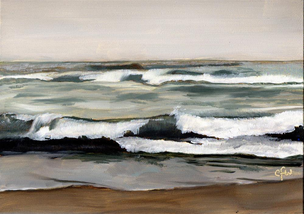 """Waves on a Gray Day"" original fine art by Gary Westlake"