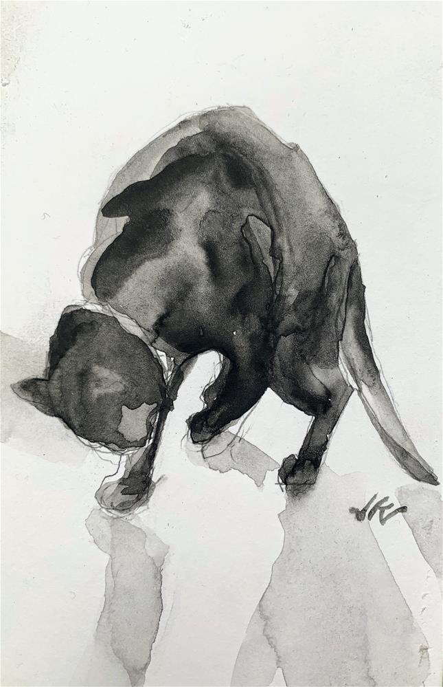 """Daily Cat 127"" original fine art by Jean Krueger"