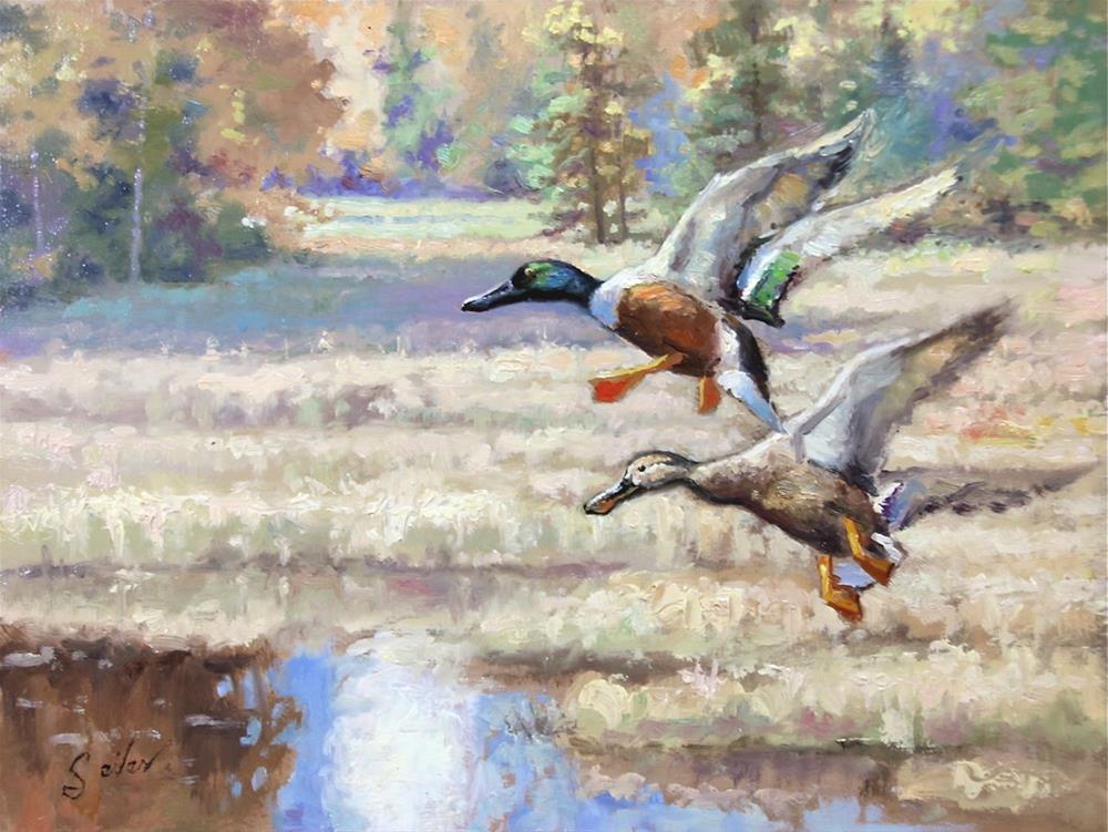 """Drop In Shovelers"" original fine art by Larry Seiler"