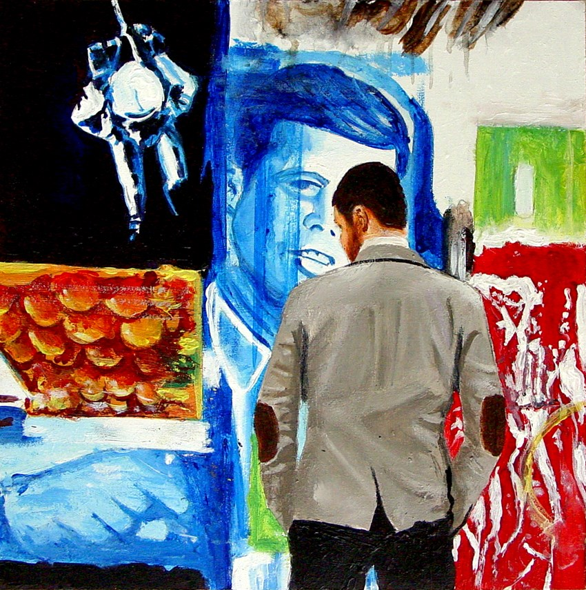 """Retro Active- Painting Of A Man Enjoying A Painting By Robert Rauschenberg"" original fine art by Gerard Boersma"
