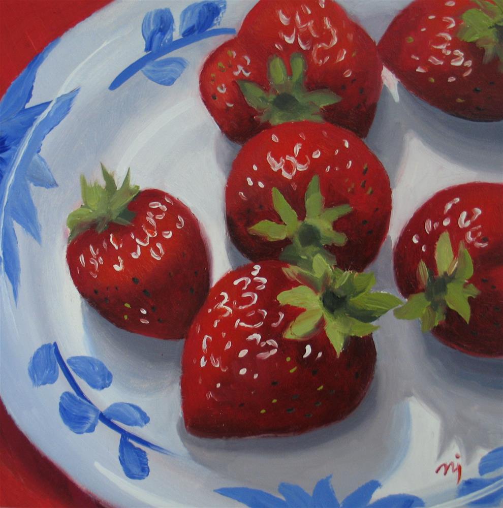 """Strawberries on Patterned Plate"" original fine art by Nel Jansen"