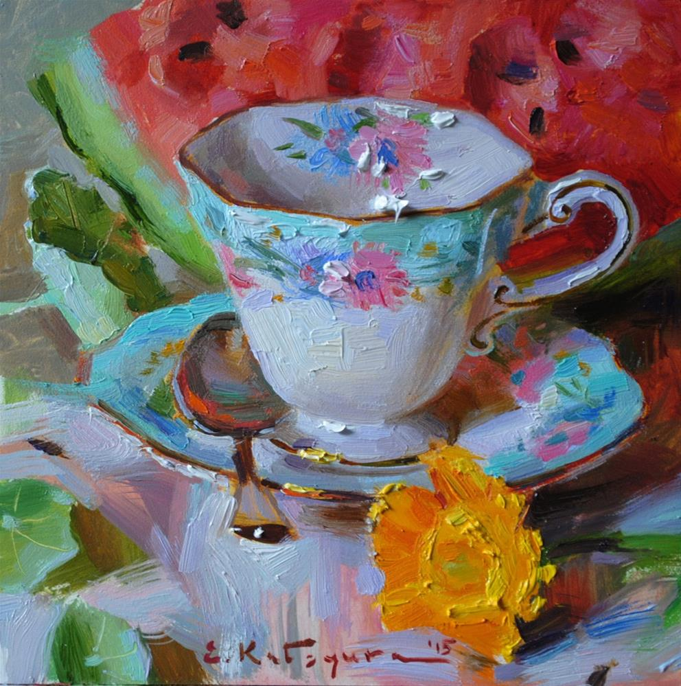"""Teacup, Flower and Watermelon"" original fine art by Elena Katsyura"