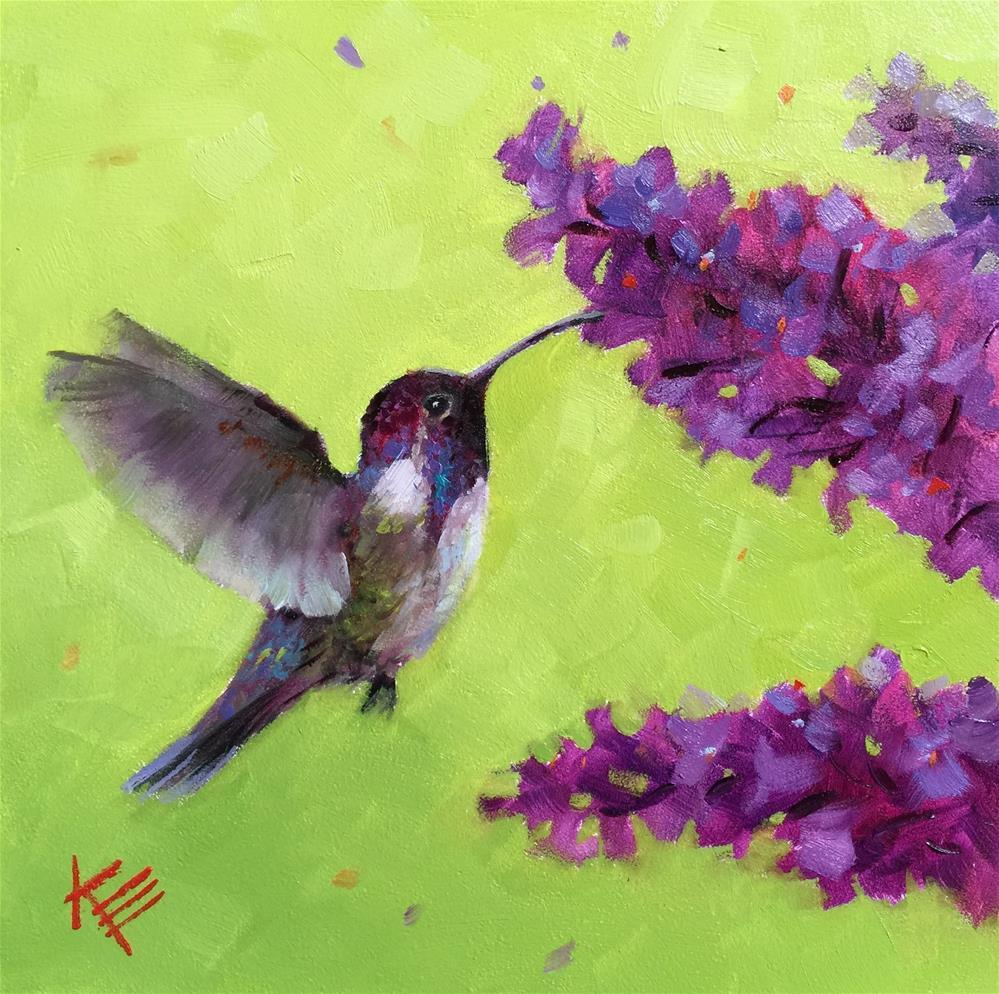 """Costa Hummingbird & Lilacs"" original fine art by Krista Eaton"