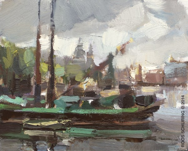 """""""CA03-2014 Schuring Cityscape Amsterdam At the Docks View on St Nicholas Central Station and Boats"""" original fine art by Roos Schuring"""
