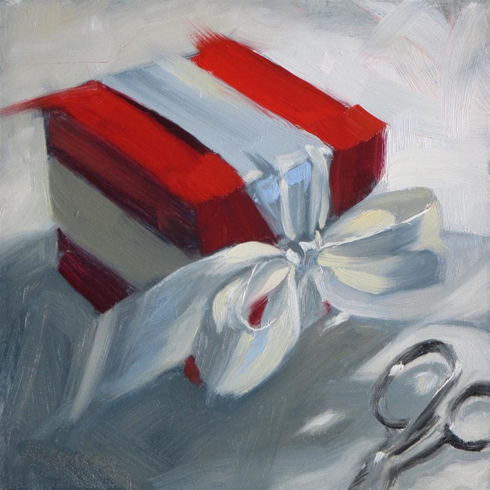 """Red Box with Scissors  6 x 6  oil"" original fine art by Claudia Hammer"