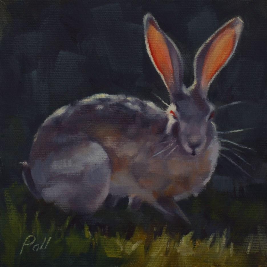"""Red Eye Jackrabbit (framed)"" original fine art by Pamela Poll"
