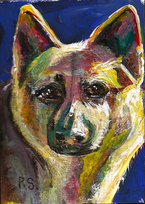 """ACEO German Shepherd Dog Colorful Mixed Media Acrylic by Penny Lee StewArt"" original fine art by Penny Lee StewArt"